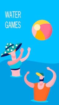 Coppie allegre che giocano il modello dell'insegna del gioco dell'acqua