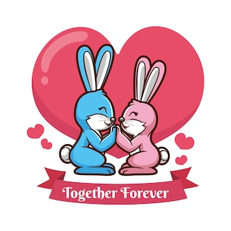 Coppie animali di san valentino con conigli
