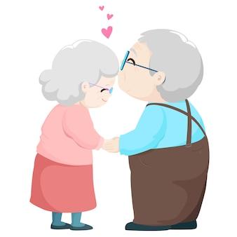 Coppie anziane adorabili che baciano l'illustrazione di vettore del fumetto.