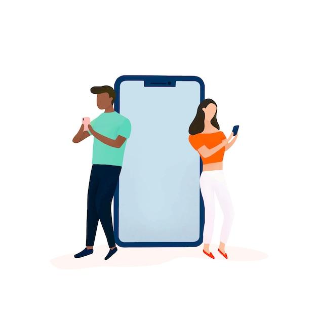 Coppie che chiacchierano sul vettore di media sociali