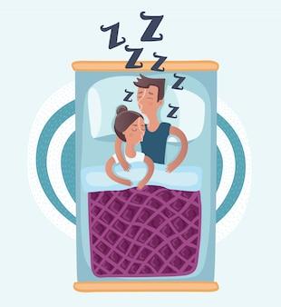 Coppie che dormono abbracciando a letto l'illustrazione di vista superiore