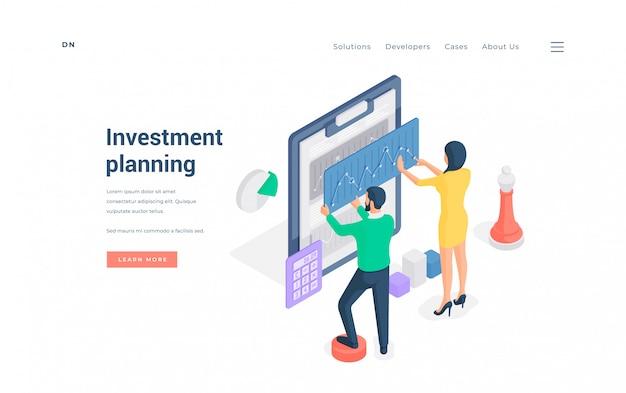 Coppie che progettano insieme illustrazione isometrica di investimenti finanziari