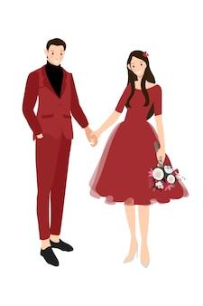Coppie cinesi di nozze in vestito rosso tradizionale che si tiene per mano illustrazione