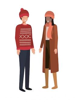 Coppie con carattere di avatar di vestiti invernali