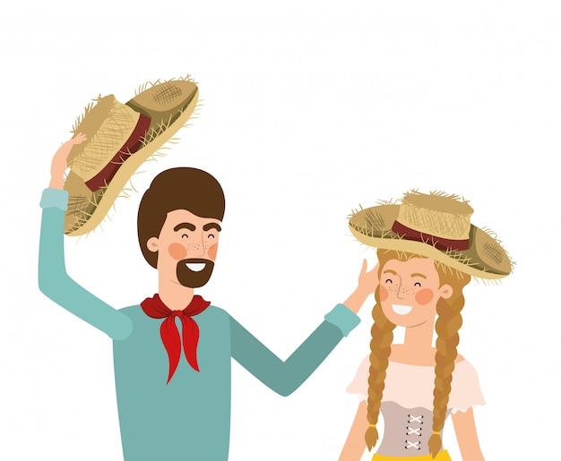 Coppie degli agricoltori che parlano con il cappello di paglia