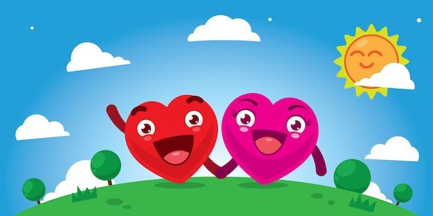 Coppie del fumetto del cuore che tengono mano in sunny day
