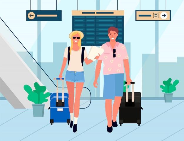 Coppie dell'aeroporto di rilassamento di viaggio d'affari o di vacanza
