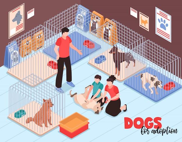 Coppie della famiglia con il figlio durante la comunicazione con il cane allegro nell'illustrazione isometrica di vettore del rifugio per animali