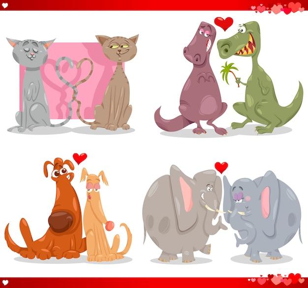 Coppie di animali di san valentino