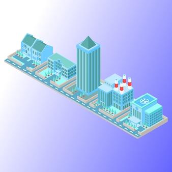 Coppie di edifici in una linea usando soft coloured