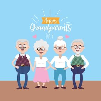 Coppie di gandparents con occhiali e acconciatura