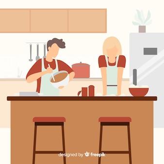 Coppie disegnate a mano che cucinano fondo