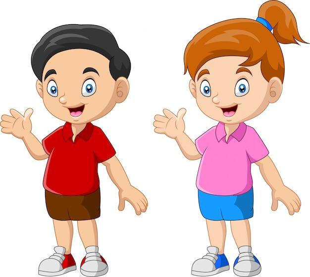 Coppie divertenti del fumetto del bambino felice