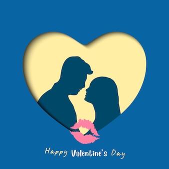 Coppie dolci del biglietto di s. valentino nella carta di amore