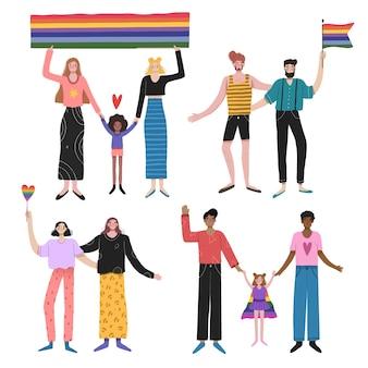 Coppie e famiglie che celebrano la giornata dell'orgoglio