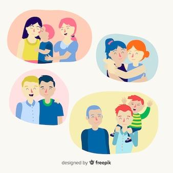 Coppie e famiglie del giorno dell'orgoglio