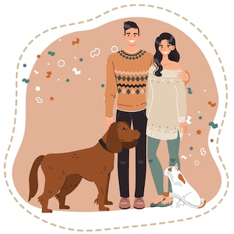 Coppie felici con gli animali domestici, i proprietari del cane e del gatto, illustrazione di vettore