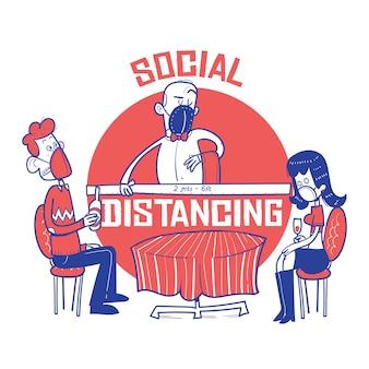 Coppie in ristorante e cameriere che misurano distanza sociale