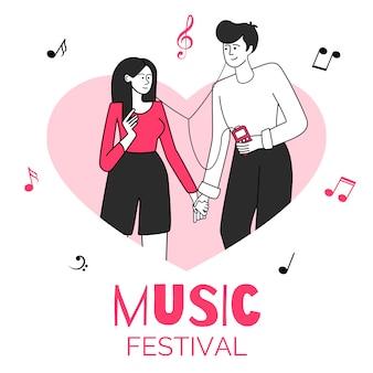 Coppie innamorate nell'illustrazione del confine di forma del cuore. festival musicale, concerto, evento. giovani che si tengono per mano e che ascoltano i caratteri piani di contorno di musica isolati su bianco