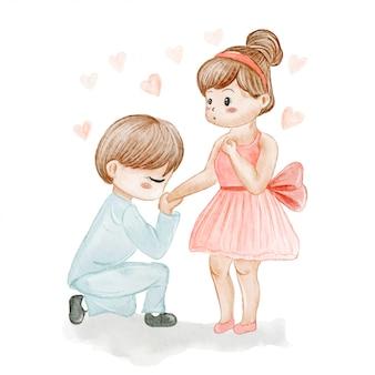Coppie nell'illustrazione disegnata a mano dell'acquerello del biglietto di s. valentino di amore