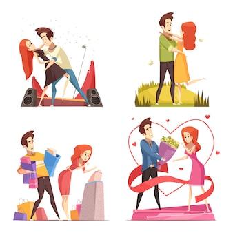 Coppie nella raccolta dell'illustrazione di amore