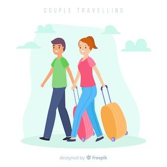 Coppie piane che viaggiano insieme sullo sfondo