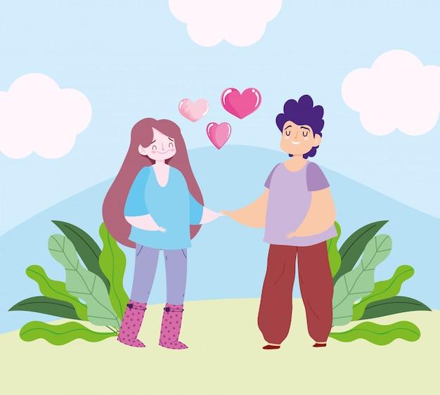 Coppie romantiche con disegno romantico del fumetto del cuore