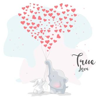 Coppie romantiche dell'elefante sveglio con il pallone di amore