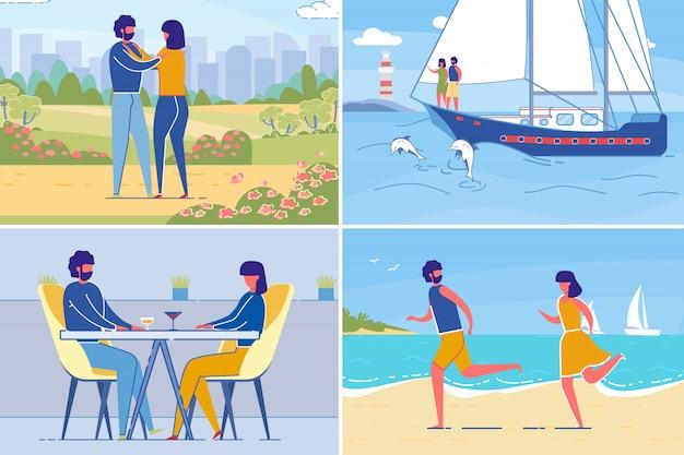 Coppie romantiche per il tempo libero e incontri insieme, impostare.