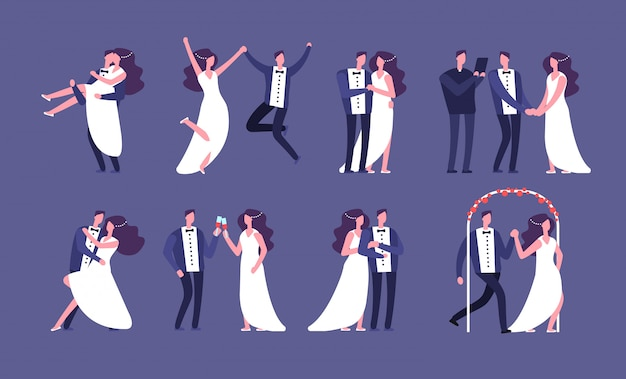 Coppie sposate. sposi novelli, personaggi dei cartoni animati di celebrazione del matrimonio. insieme di vettore di persone felici appena sposate