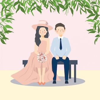 Coppie sveglie felici che si siedono nel banco sotto l'illustrazione adorabile del ritratto delle coppie del fogliame