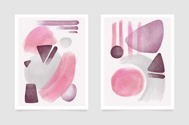 Copre forme acquerello astratte stile