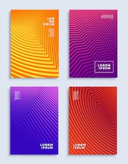 Copre i modelli di design astratto moderno impostare composizioni geometriche futuristiche
