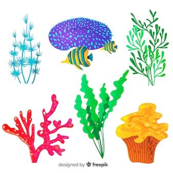 Corallo disegnato a mano con raccolta di pesci