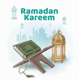 Corano e lanterna in stile illustrazione ad acquerello