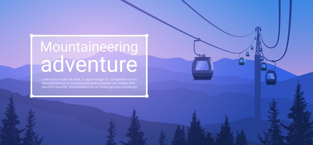Corda del trasporto della cabina di funivia modo sopra l'insegna del fondo della natura della collina della montagna con lo spazio della copia