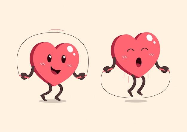 Corda di salto del personaggio dei cartoni animati del cuore