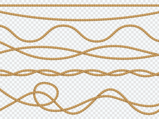 Corde di fibra realistiche. corda curva cordone nautico laccio dritto bordo marino marrone spago juta spago naturale legato. arredamento