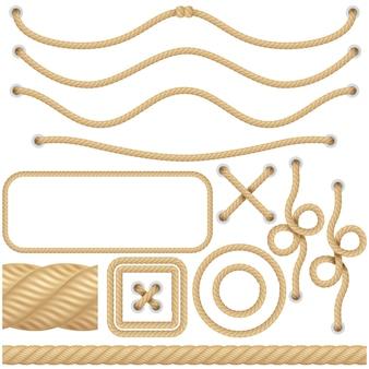 Corde realistiche in fibra marina o nautica. bordi, cornici a vela elementi decorativi. nodo oggetto contorto isolato.