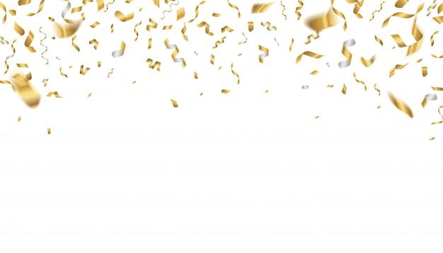 Coriandoli celebrazione d'oro. nastri di festa che cadono, decorazione di festa di compleanno in volo. nastro oro evento anniversario realistico