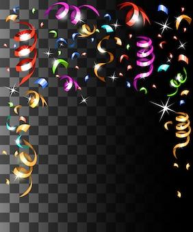 Coriandoli colorati che cadono e decorazioni natalizie con nastri colorati sulla pagina del sito web con sfondo trasparente e sull'app mobile