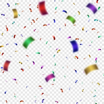 Coriandoli colorati illustrazione festiva di vettore di scintillio di coriandoli caduta brillante. tinsel decorativo vacanza