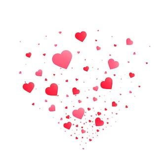 Coriandoli cuore scoppiano isolato. concetto di san valentino. illustrazione di vettore di forme di cuore