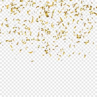 Coriandoli d'oro. illustrazione festiva di vettore di scintillio di coriandoli caduta brillante. tinsel decorativo vacanza