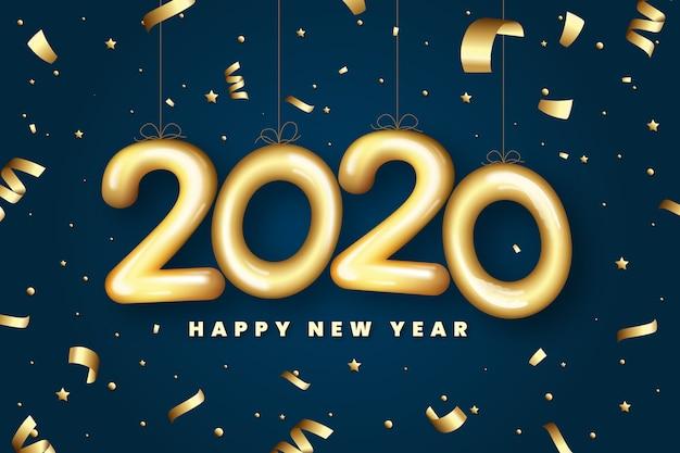 Coriandoli dorati e 2020 forme di palloncino sullo sfondo