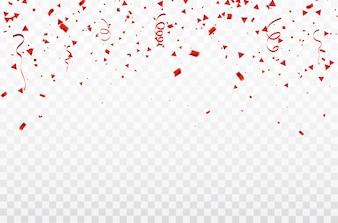 Coriandoli e nastri rossi.