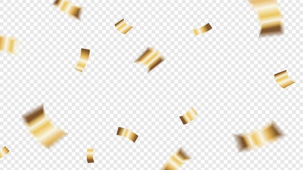 Coriandoli glitter dorati che cadono su sfondo trasparente