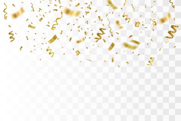 Coriandoli oro isolato.
