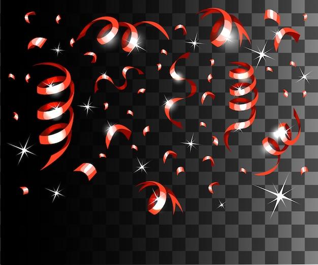 Coriandoli rossi che cadono e decorazioni natalizie con nastri rossi sulla pagina del sito web con sfondo trasparente e sull'app mobile