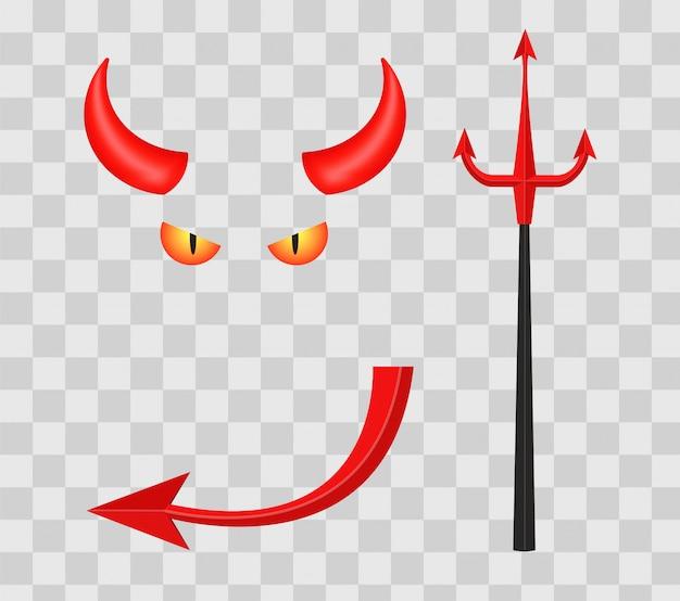 Corna da diavolo, tridente, occhi e coda